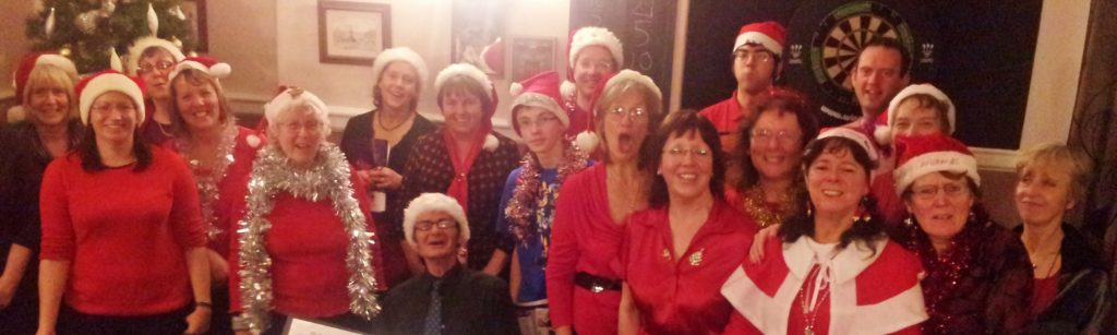 The choir at christmas, at the pony and trap.